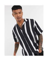 Pull&Bear Black Vertical Stripe Shirt for men