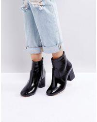 Oasis Black Block Heeled Ankle Boot