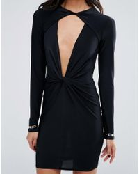 Missguided - Black Exclusive Twist Front Slinky Mini Dress - Lyst