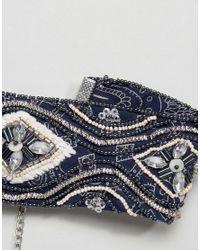 ASOS - Blue Embellished Scarf Print Choker Necklace - Lyst