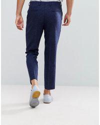 ASOS - Blue Asos Slim Crop Smart Trousers In Navy Texture for Men - Lyst