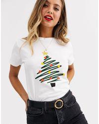 T-shirt con albero di Natale disegnato di ASOS in White