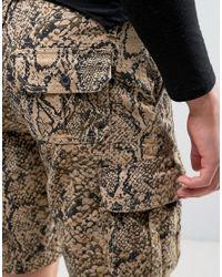 ASOS Multicolor Slim Cargo Shorts In Snake Print for men