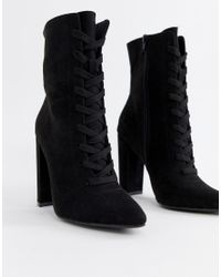 ASOS Black Elicia Lace Up Heeled Boots