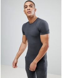 ASOS - Black Longline Muscle Fit T-shirt With Crew Neck In Grey for Men - Lyst
