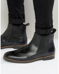 Red Tape Brogue Chelsea Boots - Black for men