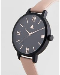 ASOS - Black Tonal Face Rose Gold Watch - Lyst