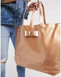 Большая Сумка С Бантом Цвета Розового Золота Hanacon-золотистый Ted Baker, цвет: Metallic
