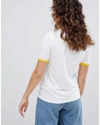Daisy Street White Ringer T-shirt With Beautiful Print