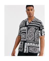 Originals - Chemise manches courtes imprimé cachemire avec col à revers Jack & Jones pour homme en coloris Black