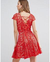 Glamorous Red Lace Skater Dress