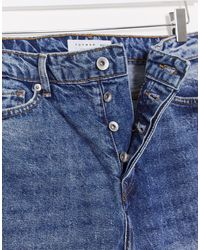 Topman Blue Straight Leg Jeans for men