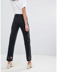 FLORENCE - Jean droit authentique avec rivets oversize - délavé ASOS en coloris Black