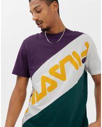 Black - Line Rowan - T-shirt à logo block Fila pour homme en coloris Purple