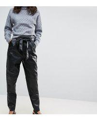 Vero Moda Tall Black Leather Look Trousers
