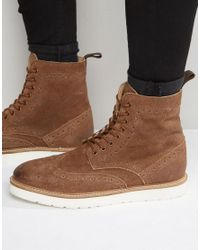 Frank Wright | Brown Brogue Boots In Tan Suede for Men | Lyst