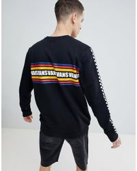 Vans - Sweatshirt With Checkerboard Arm In Black Exclusive At Asos for Men - Lyst