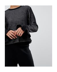 UNIQUE21 Black Striped Jumper With Frill Sleeves