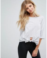 New Look Gray Knot Front Poplin Shirt