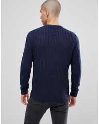 Only & Sons Blue Knitted Jumper With Mix Panel Detail for men