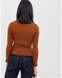 Jersey de canalé fino con detalle de cuello ASOS de color Brown