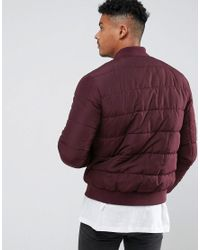 ASOS - Red Quilted Bomber Jacket In Burgundy for Men - Lyst