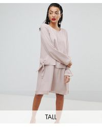 Y.A.S Pink Double Layer Silky Swing Dress
