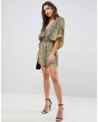 ASOS - Black Playsuit With Kimono Sleeves And Cut Out In Animal Print - Lyst