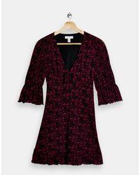 Topshop Unique Black Tie Front Jersey Tea Dress