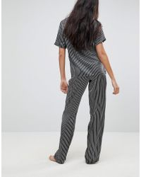 ASOS Gray Mono Stripe Wide Leg Pyjama Trouser