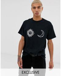 Reclaimed (vintage) – Oversize-T-Shirt mit Sonnen- und Monddruck in Black für Herren