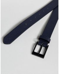 ASOS - Blue Smart Slim Belt With Pebble Grain Emboss In Navy Faux Leather for Men - Lyst