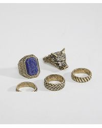 ASOS - Metallic Oversized Ring Pack In Burnished Gold With Wolf Design And Stone for Men - Lyst