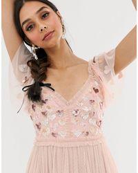Love - Vestito midi rosa con cuori di Needle & Thread in Pink