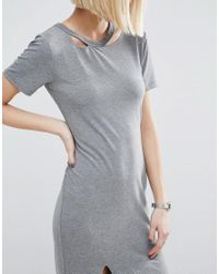 ASOS - Gray T-shirt Dress With Ripped Neck - Lyst