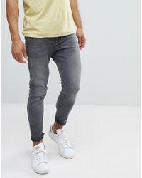 Pull&Bear Gray Super Skinny Jeans In Mid Grey for men