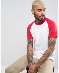 Pull&Bear White Raglan T-shirt In Red for men