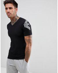 Emporio Armani - Muscle Fit V-neck Shoulder Logo T-shirt In Black for Men - Lyst