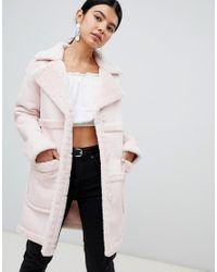 Miss Selfridge - Pink Exclusive Reversible Faux Shearling Coat - Lyst