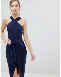 Lavish Alice Blue Cross Front Midi Dress With Wrap Skirt And Tie Waist