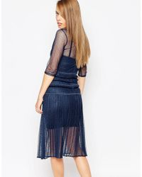 Body Frock - Blue Louisa Sculpting Dress With Pleat Skirt And Lace - Lyst