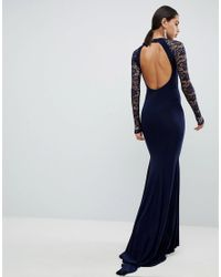 Club L Blue Open Back Slinky Fishtail Maxi Dress With Detailed Lace Open Back