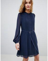 Warehouse Blue Chiffon Shirt Dress