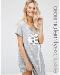 ASOS | Gray Let's Stay In Bed Nightie - Grey | Lyst