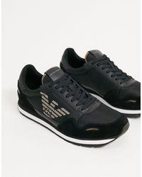 Emporio Armani – Lauf-Sneaker aus Wildledermischung mit Adler-Logo in Black für Herren