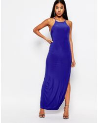 Club L - Blue Cross Back Maxi Dress - Lyst