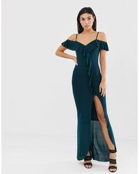 Vestido largo con escote bardot, abertura lateral y detalle AX Paris de color Black