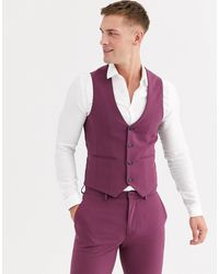 ASOS Purple Wedding Super Skinny Suit Waistcoat for men