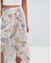 Miss Selfridge Multicolor Floral Wrap Skirt
