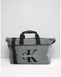 Calvin Klein Gray Logo Grey Weekend Bag - Grey